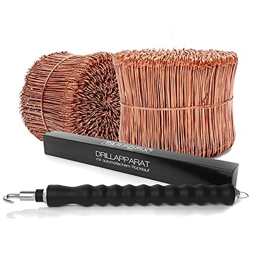 Tarpofix® Drillapparat Driller + Rödeldraht 1,0 x 140 mm (1000 Stk.) - hochwertiges Set aus Drahtbinder Rödelzange & Bindedraht Sackverschluss - verkupferter Drahtverschluss Ösendraht Drill Draht