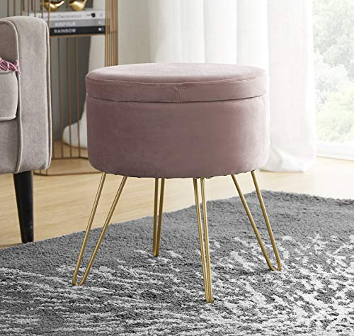 Ornavo Home Modern Round Velvet Storage Ottoman Foot Rest Vanity Stool/Seat with Gold Metal Legs & Tray Top Coffee Table - Blush