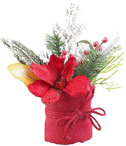 infactory Kunstblume Weihnachten: Weihnachts-Gesteck mit Blumen, Zweigen, Beeren und Kunst-Schnee, 27 cm (Winterdekos)