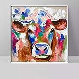 KWzEQ Highland Vache Peinture à l'huile Animale Toile colorée Mur Art Salon décoration de la Maison 50X50cmPeinture sans Cadre