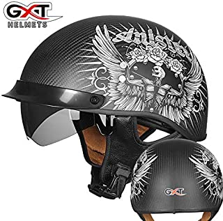 Adult Motorcycle Carbon Fiber Helmet/DOT Certification/ATV Scooter Lightweight Half Helmet with Windshield Eyes (Dumb Black, Bright Black),Matteblack,XXL