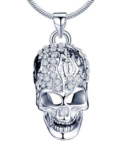 Yumilok Silberfarben Liegierung Rhodiniert Österreichischer Kristall Totenkopf Schädel Anhänger Halskette Kette mit Anhänger für Damen Herren