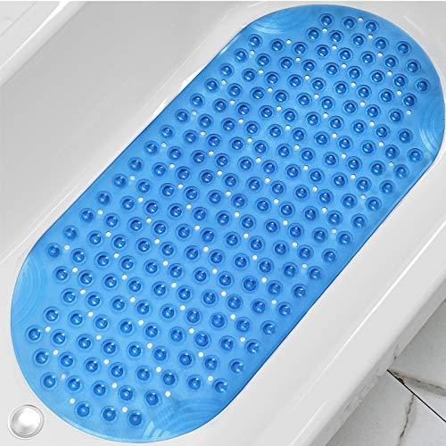 DEXI Duschmatte 88 x 40 cm,Badewannenmatte rutschfest mit Saugnapf & Ablauflöchern,Maschinenwaschbare,Kein Chemie-Geruch Badematten für Badezimmer Badewanne,Transparent Blau