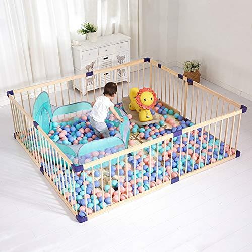 Dripex Laufgitter Baby Laufstall Absperrgitter Kinder Holzgitter Krabbelgitter aus Kieferholz mit Tür 182.4 x 205 CM