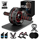 MIBOTE Ab Roller Wheel, 13-in-1 Ab Wheel Roller Kit with Resistance Bands, Jump Rope, Push-Up Bar, Knee Pad for Home Gym Workout Exercise Fitness Abs Workout