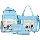 WESYY 4pcs canvas school backpack combo set with kawaii teddy bear,cute kawaii backpack,canvas combo girl tote crossbody bag,for Teen Girls School Bag Cute Student Bookbag (Blue)