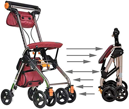 Basketbal stand Loophulpmiddelen 4 Wielen Portable Opvouwbaar, Drive Rollator Walker met Seat, Medical Rolling Walker Double Brake System, gebruikt for senioren Walking Hefbare basketbal stand