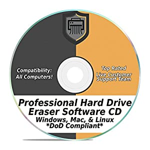 Hard Drive Eraser Software Wiper Disk Professional Secure DoD Compliant SCSI CD Tool 32 / 64Bit for Windows – Mac – Linux Laptop or Desktop