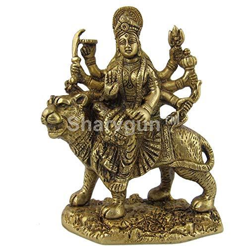 Sharvgun Statue/Idol der Göttin Durga Ma, Messing, 10,2 x 5,25 cm, Gewicht: 0,9 kg
