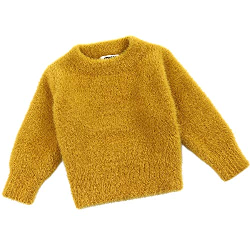 Curipeer Baby Sweater Solid Thick Basis Pullover Sweater Turtleneck Longsleeve Fall Clothes for Baby Girl and Boy Yellow 1824 Months