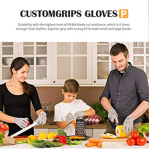 CustomGrips Cut Resistant Gloves for Kids, Level 5 Protection, Food Grade Safety Gloves for Arts and Crafts, Gardening and Kitchen Work [X-Small, 2 PK]