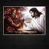 ZXYFBH Poster Bilder Jesus VS Satan Wettbewerb zwischen