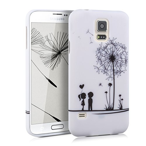 kwmobile Samsung Galaxy S5 / S5 Neo Cover - Custodia in Silicone TPU per Samsung Galaxy S5 / S5 Neo - Back Case Protezione Posteriore Cellulare Nero/Bianco
