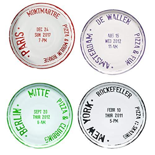 BITOSSI Set 4 Piatti Pizza Collezione Home Travel - New York - Berlino - Amsterdam - Paris cm 31
