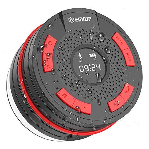 Bluetooth Lautsprecher, Govvay IPX7 wasserdicht Tragbares kabelloser Bluetooth Shower Speaker mit FM Radio, LED Display, HD Sound and Deep Bass Speaker for Bathroom Pool Outdoor
