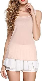 Ashtray - Women O-Neck Sleeveless Pure Color Vest Chiffon Tops T-Shirt Blouse,Size:XL,Colour:Navy (Color : Beige, Size : 3XL)