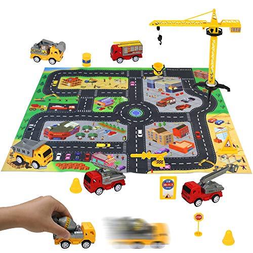 Akokie Cars Spielzeug Spielzeugauto Set Kinder Spielzeug für Mädchen Jungen 6 Autos Spielzeug mit Spielteppich Straße Bagger Feuerwehrauto Lernspielzeug Geschenke für Kinder ab 3 4 5 6 Jahren