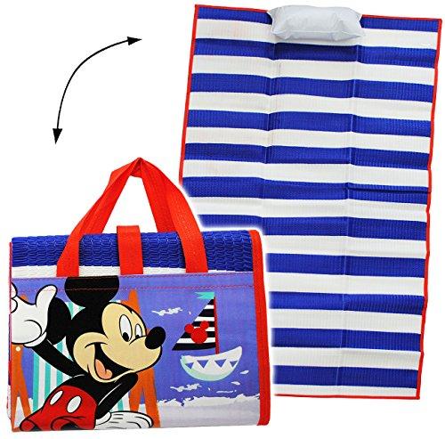 gepolsterte _ Strandmatte / Strandunterlage -  Disney - Mickey Mouse  - 75 cm * 150 cm - incl. aufblasbares Kissen - wasserfest & faltbar - als Unterlage is..