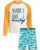 Big Chill Boys' UPF 50+ Long Sleeve Rashguard Shirt and Board Short Set (2 Piece), Blue/Orange, Size 10/12'