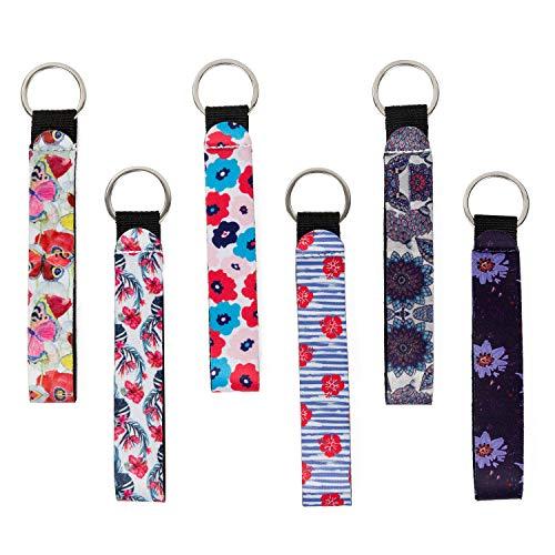6-Pack Keychain Lanyard   Women's Strap Key Chain Lanyard Wristlet   4YOUALL Durable Neoprene Cool Keys Lanyard for Chapstick Keychain Holder (6 Pack Lanyard, Flowers)