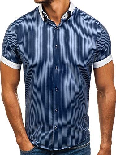 BOLF Hombre Camisa De Rayas De Manga Corta Elegante Cuello Americano Slim Fit 1808 Azul Oscuro M [2B2]