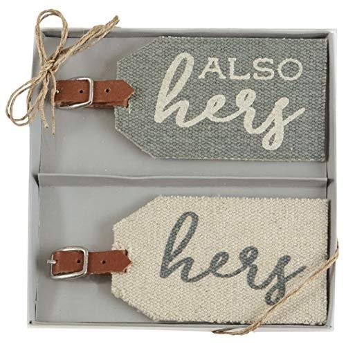 Mud Pie Wedding Dhurrie Luggage Tag Set of 2 (Hers)