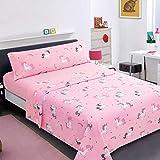 Hapilife juego sábanas para niños infantiles 3 piezas cama de 105cm, incluye fundas de almohada + sábana bajera ajustable + sábana encimera, diseño de unicornio rosa