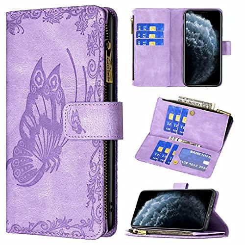 TYWZ Custodia a Portafoglio per Xiaomi Redmi 9C,Goffratura Farfalla PU Pelle Cerniera Wallet Cover Protettiva Libro con Supporto 9 Slot per Schede-Viola