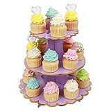 MengH-SHOP Soporte para Cupcakes 3-Tier Cartón Cupcake Stand Redondo Soporte Postre para Bebé Shower Niños Fiesta Cumpleaños Party Temático