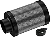 Auertech 4 Inch Air Carbon Filter, Odor Control with Australia Virgin Charcoal Tent Grow Plants Filter with Pre-Filter, 1 Pair Strap, Reversible Flange, for Inline Fan, Grow Tent, Odor Scrubber, Black