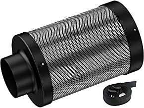 Auertech 4inch Air Carbon Filter, Odor Control with Australia Virgin Charcoal Tent Grow Plants Filter with Pre-Filter, 1 Pair Strap, Reversible Flange, for Inline Fan, Grow Tent, Odor Scrubber
