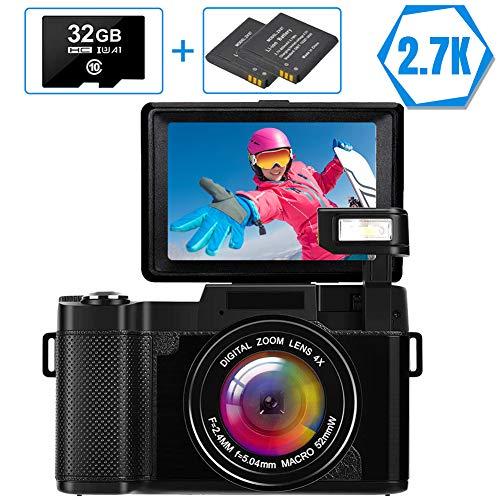 Digitalkamera Vlogging-Kamera Full HD 2.7K 30MP Kompaktkamera für YouTube Digitalkameras mit 32G Speicherkarte und 2 Batterien