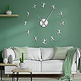 CCZMD Súper Espejo 3D Reloj de Pared de DIY Creativo Americana del Baloncesto decoración del hogar Etiqueta de la Pared del hogar del Reloj Reloj Accesorios Profesional de Reloj Reloj de Pared,A