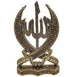 Modefa Islamic Turkish Table Decor Showpiece Gift Sculpture Figure Arabic Allah & Ali Double Sword Gold