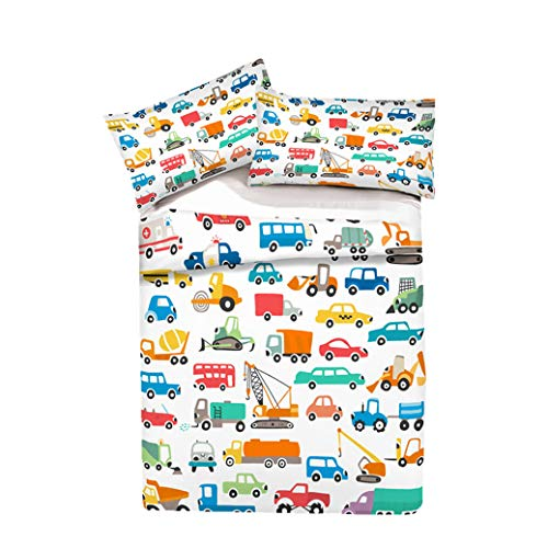 Juego de Cama con Funda de Edredón y Funda de Almohada Cama 90 cm, Diseño de Camiones y Medios de Transporte Mini Juego de Construcción Animal Funda Nórdica (Patrón 3, Cama 105/90 cm - 180x210