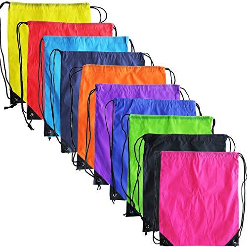 10 colores con cordón mochila bolsas paquete Cinch Tote deporte almacenamiento bolsa de poliéster para gimnasio viajes