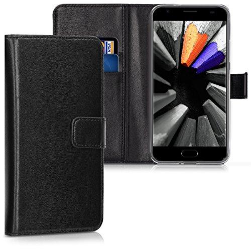 kwmobile Hülle kompatibel mit Ulefone Power 2 - Kunstleder Wallet Hülle mit Kartenfächern Stand in Schwarz