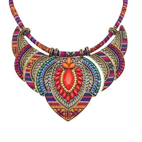 YAZILIND Estilo étnico Chunky Colorido Colorido Bohemia Festival Tribal con Cuentas Bib Collar Gargantilla Collar Collar Collar Collar Mujeres joyería Regalo