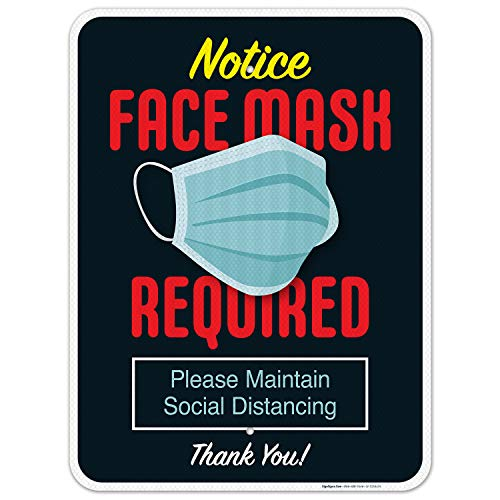 Mask Required Sign, Social Distancing Sign, 18x24 Inches, 3M EGP Reflective .080 Aluminum, Fade Resistant, Easy Mounting, Indoor/Outdoor Use, Made in USA by SIGO SIGNS