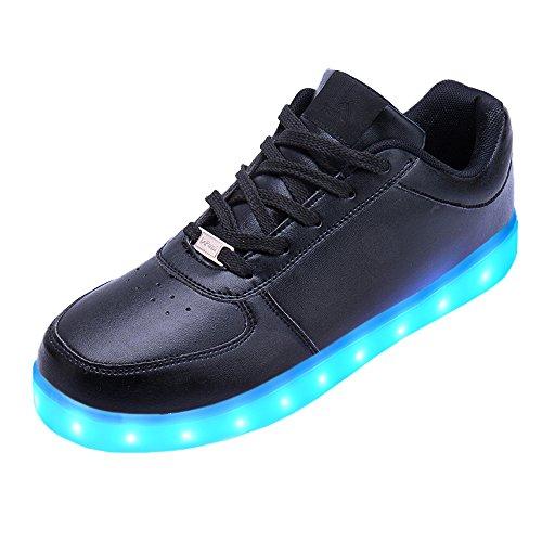 LeKuni Unisex LED Schuhe Leuchtschuhe 2019 Verbesserung 7 Farbe Blinkende Leuchtende Light up Low Top Sneakers, Schwarz, 36 EU