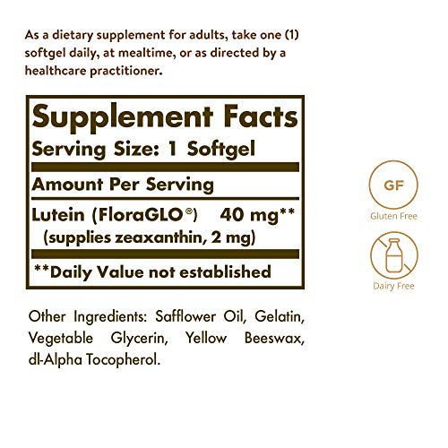 Solgar Lutein 40 mg, 30 Softgels - Supports Eye Health - Helps Filter Out Blue-Light - Contains FloraGLO Lutein - Gluten Free, Dairy Free - 30 Servings