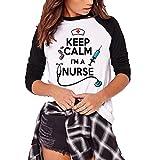 Ynalxfohnz Soy UNA Enfermera, MANTÉNGASE Calma Imprimir Camiseta con Estampado de Mujer de