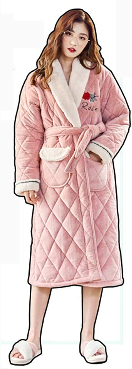 NAN Liang [ThreeLayer Thickening] Nightgown, Female Winter Cotton bathrobe, Long Korean Version of Cotton Jacket bathrobe Soft (Size   XXL)
