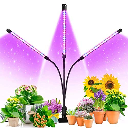 Grow Light, Ankace 60W Tri Head Timing 60 LED 5 Dimmable Levels Plant Grow Lights for Indoor Plants with Red Blue Spectrum, Adjustable Gooseneck, 3 6 12H Timer, 3 Switch Modes