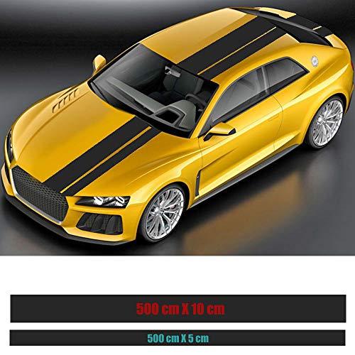 Rallystreifen 500 x 10 cm & 500 x 5 cm Folienstreifen Autofolie Folie Streifen Aufkleber Selbstklebend - Schwarz Matt - 2 Stück