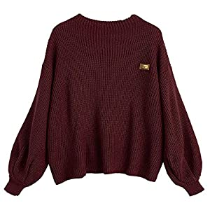 Fashion Shopping ZAFUL Women's Casual Loose Knitted Sweater Lantern Sleeve Crewneck Fashion Pullover Sweater Tops