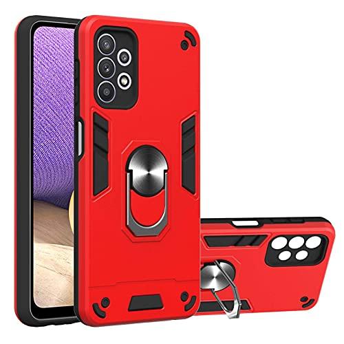 LJP Funda Samsung Galaxy A32 5G, Antigolpes Doble Capa Duro PC + Suave Silicona TPU Bumper Case Carcasa para Samsung Galaxy A32 5G, con 360 Anillo iman Soporte - Rojo