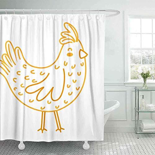 N\A Duschvorhang, Navy Duschvorhang Lustiger Duschvorhang für Badezimmer mit Haken Neon Line Hen Farm Bird Animal Wings Umweltfre&licher wasserdichter großer Duschvorhang