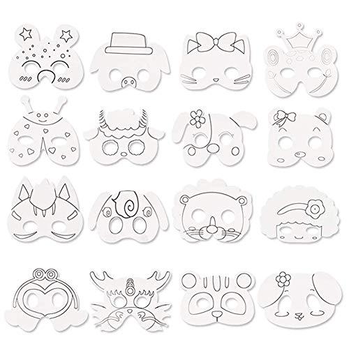 BESTZY Tiermasken Kinder mit Strasssteine Kindermasken zum Bemalen Tiere Tiermasken für Kinder Ausmalen für Kinder Ideal zum Kindergeburtstag und Karneval (16 Stück)