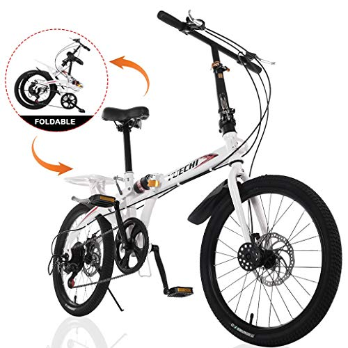 Rusilay Youth and Adult Bike,20in 7-Speed City Folding Compact Suspension Bike City Commuters Bike
